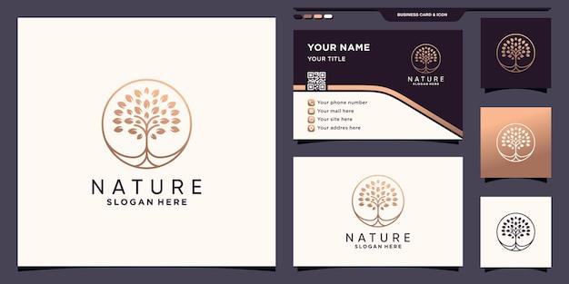 Logo drzewa natury z unikalną koncepcją koła i projektem wizytówek premium wektor
