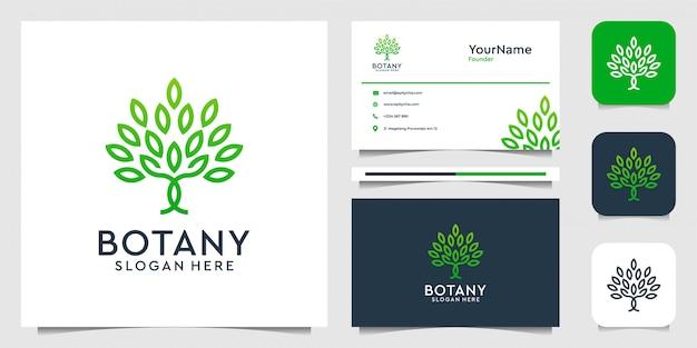 Logo drzewa w stylu grafiki liniowej. garnitur do spa, dekoracji, liści, kobiecości, natury, dżungli, lasu i wizytówki