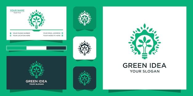 Logo drzewa z eleganckim zielonym stylem i projektem wizytówki