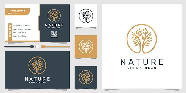 Logo drzewa z nowoczesną, unikalną koncepcją i biznesem