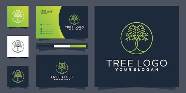 Logo drzewa z okrągłym kształtem i projektem wizytówki premium wektor
