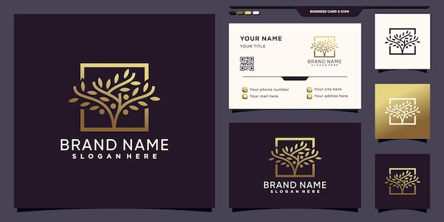 Logo drzewa ze złotym kolorem gradientu i projektem wizytówki premium wektorów