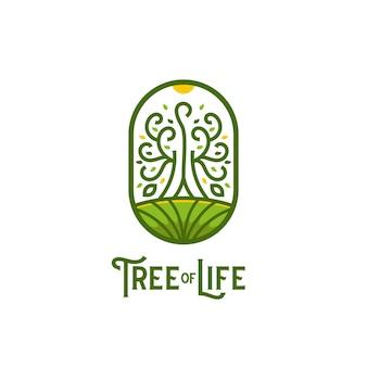 Logo drzewa życia, duże drzewo na wzgórzu z wieloma liśćmi logo w stylu linii konturowej z zaokrągloną odznaką w stylu