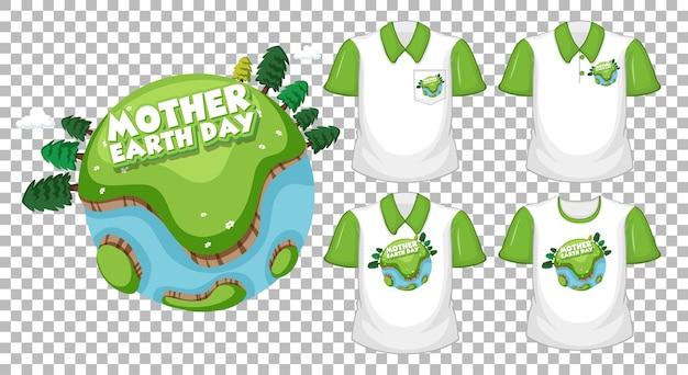 Logo dzień matki ziemi z zestawem różnych koszul na przezroczystym tle
