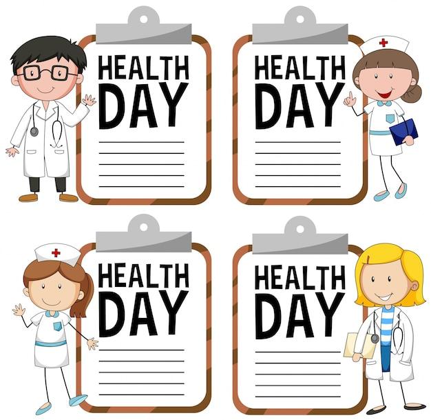 Logo dzień zdrowia z lekarzem i pielęgniarką