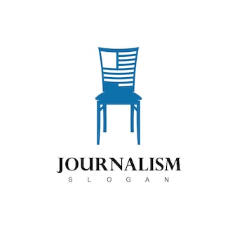 Logo dziennikarstwa z treścią dziennikarza w symbolu krzesła
