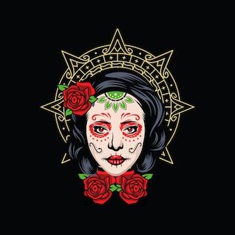 Logo dziewczyny czaszki