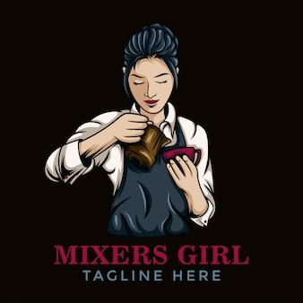 Logo dziewczyny kawy barista
