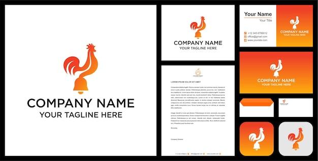 Logo dzwonka z kurczaka i wektor premium wizytówki