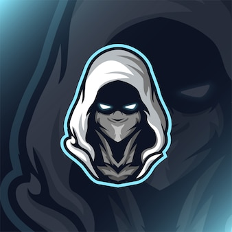 Logo e-gry head assassin reaper head mascot gaming