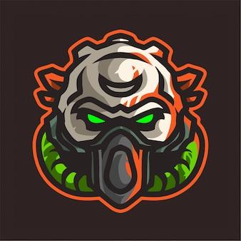 Logo e-sport czaszki z maską gazową