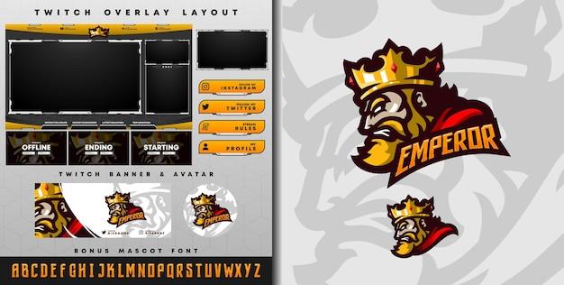 Logo e-sport i szablon twitch z królem z koroną, idealny na maskotkę drużyny e-sport i streamer gry