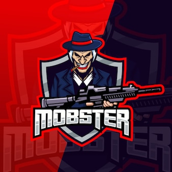 Logo e-sport maskotka gangstera gangstera