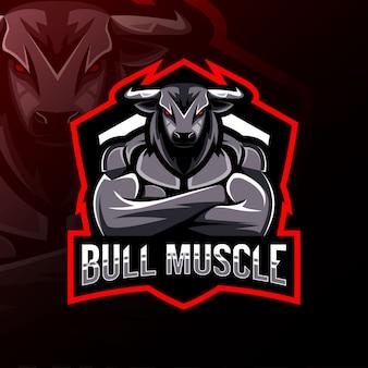 Logo e-sport maskotka mięśni byka