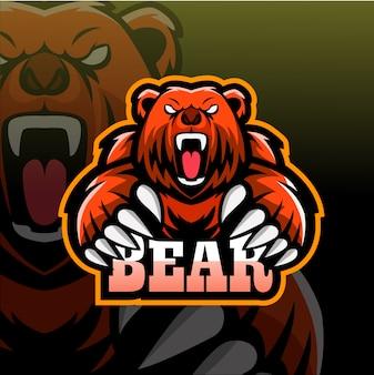 Logo e-sport maskotka niedźwiedź