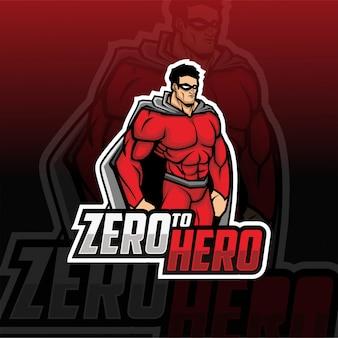 Logo e-sport maskotka superbohatera