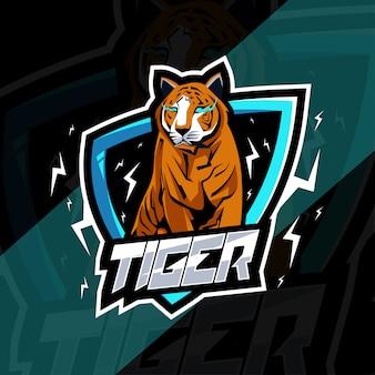 Logo e-sport maskotka tygrys