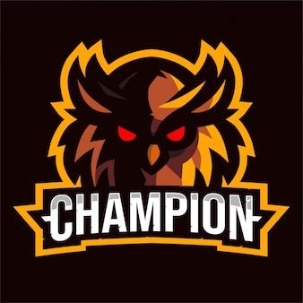 Logo E-sport Z Brązową Głową Sowy Premium Wektorów