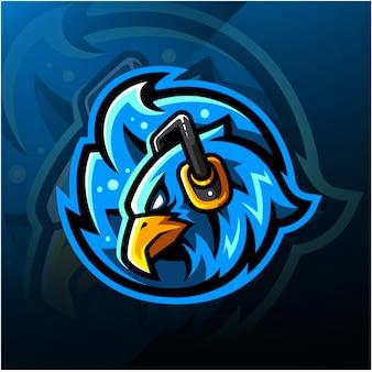 Logo e-sport z głową phoenix ze słuchawkami