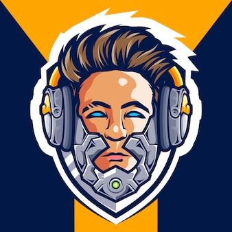 Logo e-sportowe head cyborg gamer