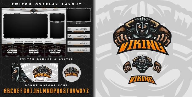 Logo e-sportowe i szablon twitcha rycerza wikingów, idealny do maskotki drużyny e-sportowej i streamera gry