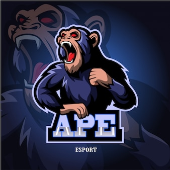 Logo e-sportowe maskotka ape.