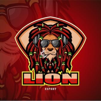 Logo e-sportowe maskotka głowa lwa.