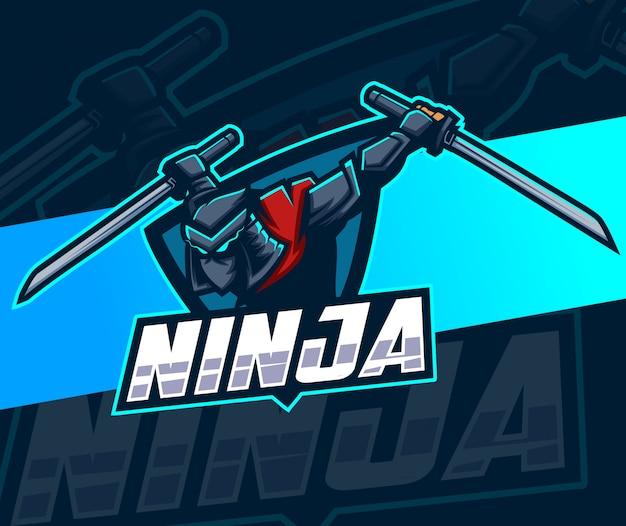 Logo e-sportowe maskotka ninja