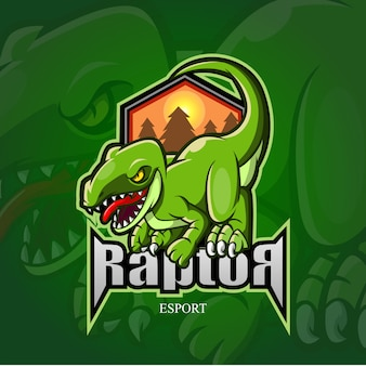 Logo e-sportowe maskotka raptor.