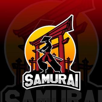 Logo e-sportowe maskotka samuraj
