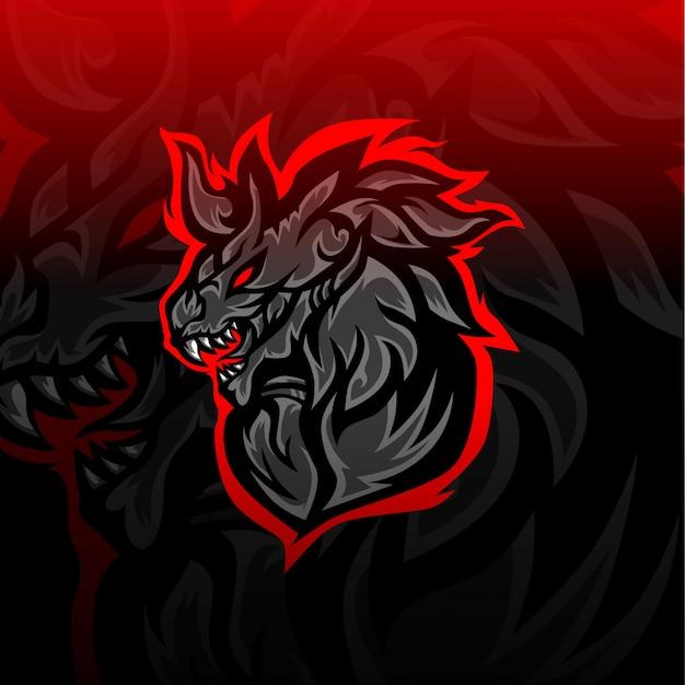 Logo e-sportowego czarnego smoka
