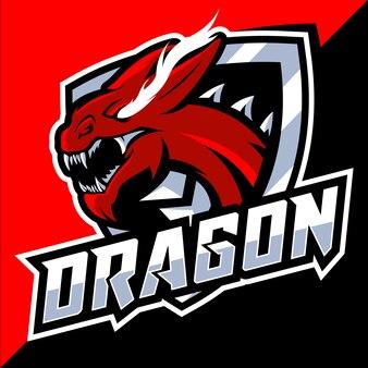 Logo e-sportowej głowy czerwonego smoka