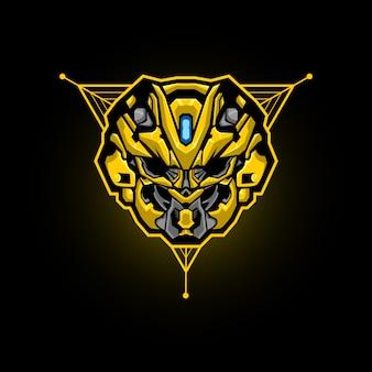 Logo e-sportowej głowy robota. maskotka do gier z robotem.
