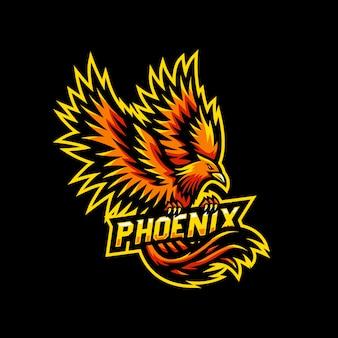 Logo e-sportowej gry maskotki phoenix