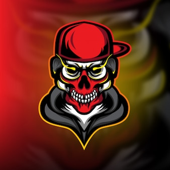 Logo e-sportowej gry maskotki street skull