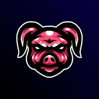 Logo e-sportowej gry maskotki świni.