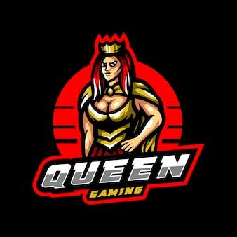 Logo e-sportowej gry queen maskotka