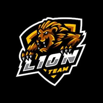 Logo e-sportowej gry z maskotką lwa