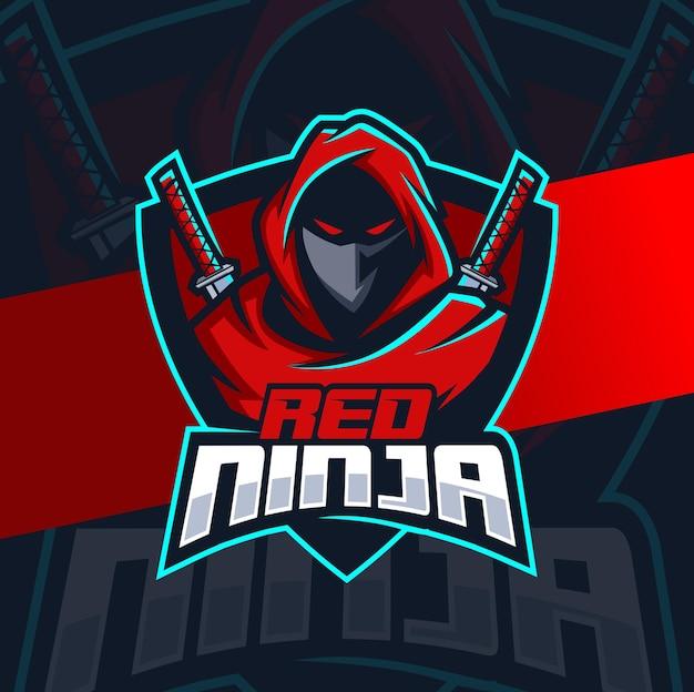 Logo e-sportowej maskotki czerwonego ninja do gier i sportu