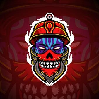 Logo e-sportowej maskotki gamingowej skull boy