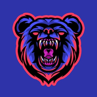 Logo e-sportowej maskotki niedźwiedzia