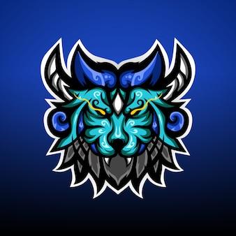 Logo E-sportowej Maskotki Z Potworami Lwa Premium Wektorów