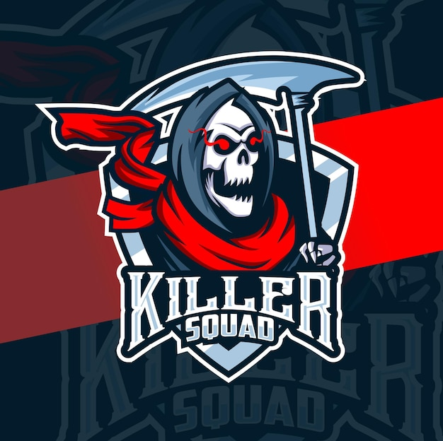 Logo e-sportowej maskotki zabójcy czaszki głowy żniwiarza do gier i tatuażu artystycznego