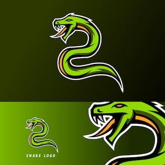 Logo e-sportowej maskotki zielony wąż żmija pioson