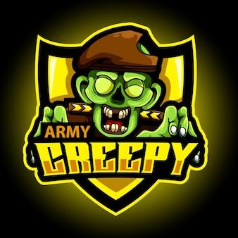 Logo e-sportowej maskotki zombie