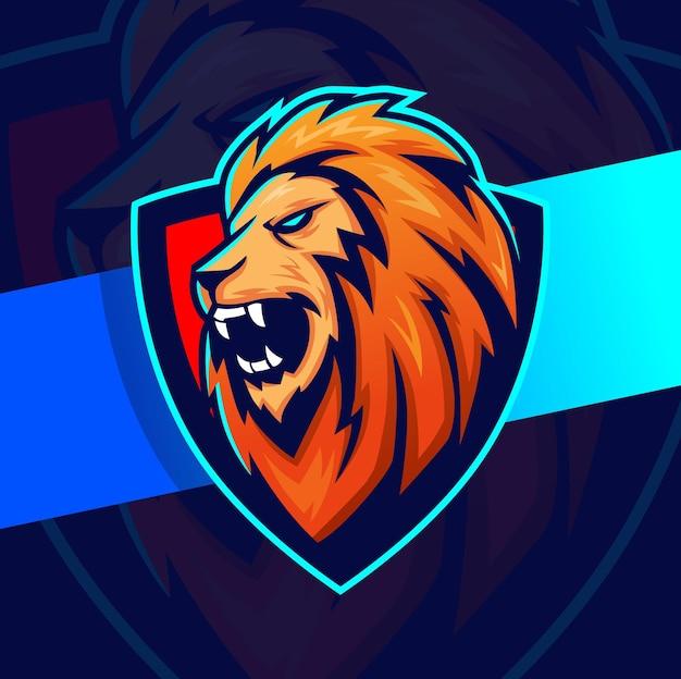 Logo e-sportowej postaci głowy króla lwa dla sportu i gry