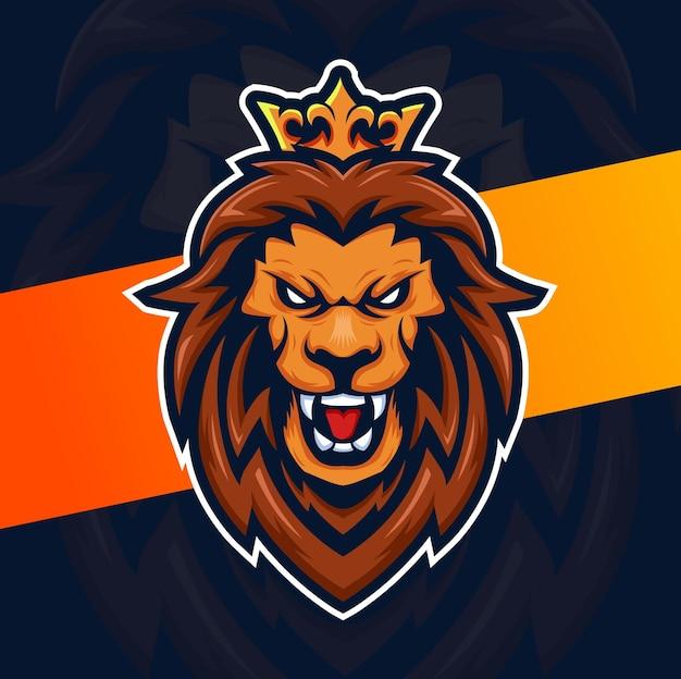 Logo e-sportowej postaci głowy króla lwa z koroną do sportu i gry
