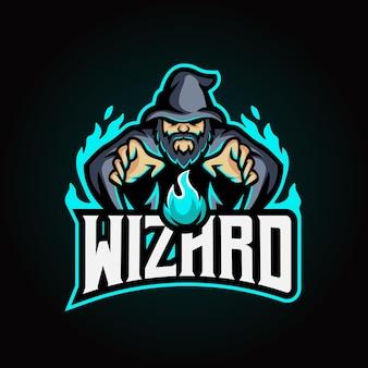 Logo e-sportu czarodzieja maskotki
