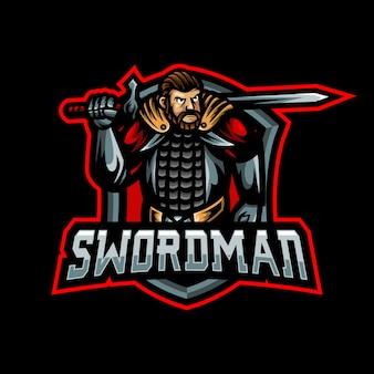 Logo e-sportu do gier maskotka swordman.