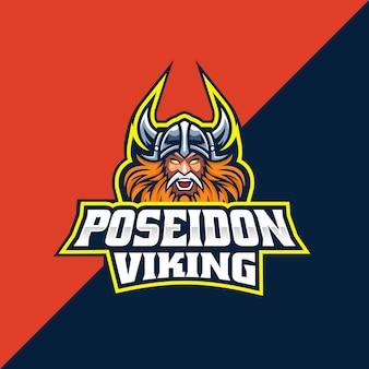 Logo e-sportu i sportu wikingów poseidon